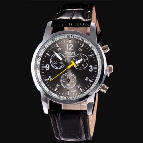 Luxus Herren Leder Armbanduhr Schwarz 24 cm NEU